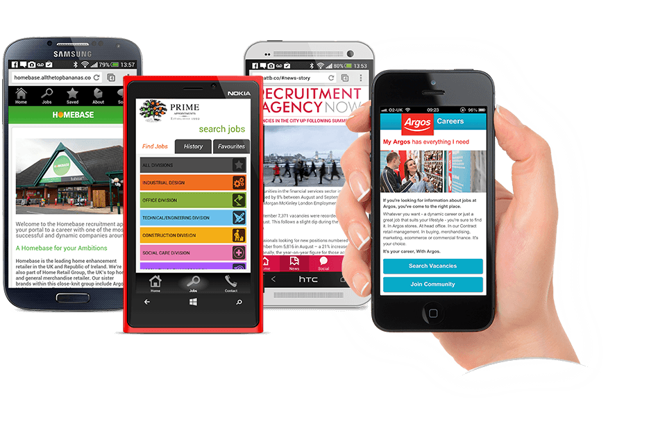 Some of our mobile sites on various devices